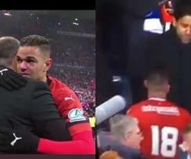 Ben Arfa's tears and his gretting to Al-Khelaïfi. Capturas/beINSports