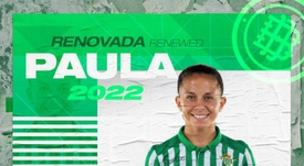 Paula Perea renovó hasta 2022. Twitter/RealBetisFem