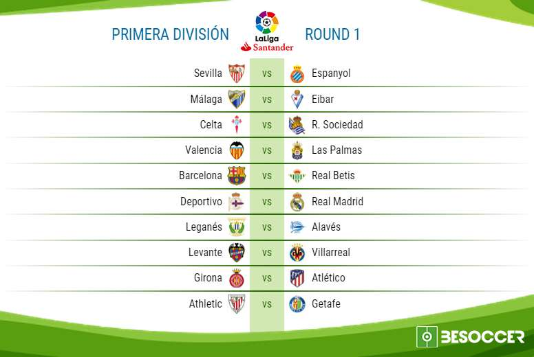 Here are the fixtures for the opening weekend of the 2017/18 La Liga