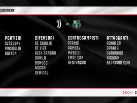 La lista dei convocati della Juve. Twitter/JuventusFC