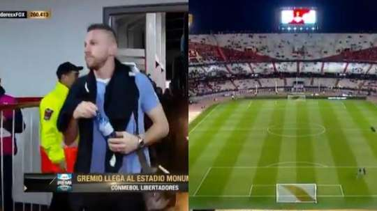 Los brasileños ya llegaron al feudo de River Plate. Captura/FoxSports