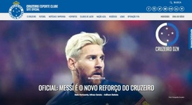 Leo Messi fue anunciado falsamente por Cruzeiro. Captura/Cruzeiro