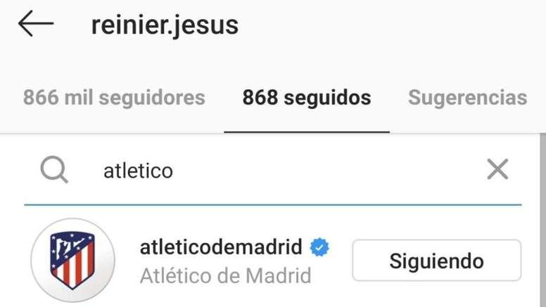 Reinier suit l'Atlético de Madrid sur les réseaux. Instagram/reinier.jesus