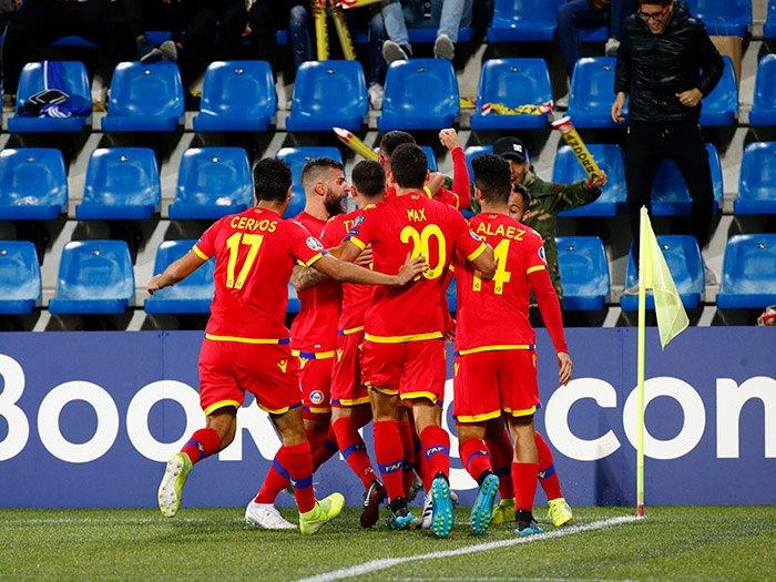 La Selección de Andorra vivió una noche histórica ante Moldavia. Twitter/Fedandfut
