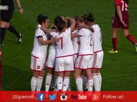 La selección española celebra su triunfo ante Portugal. SeFutbol