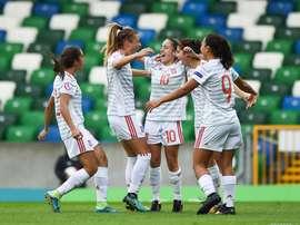 La Selección Española Sub 19 Femenina celebra la clasificación para la final. SeFútbol