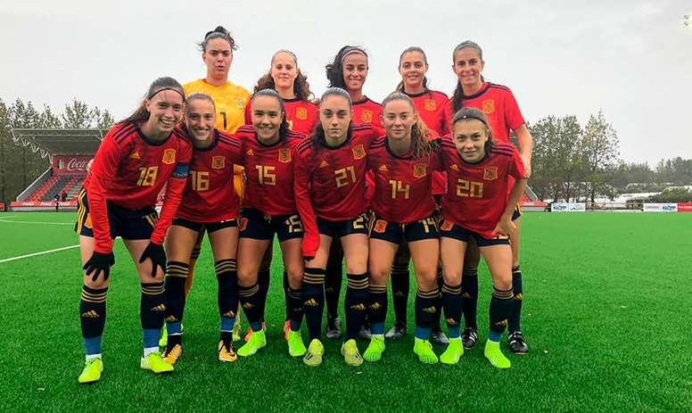 La Selección Española Sub 19 venció a Islandia en el minitorneo europeo. Twitter/SeFutbolFem
