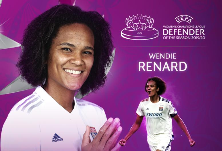 Wendie Renard se proclamó campeona de Europa con el Lyon. Captura/Twitter/UWCL
