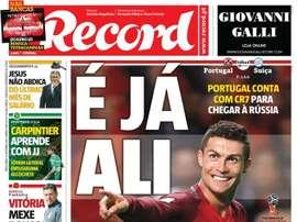 A capa do 'Record' do dia 10-10-2017. Record