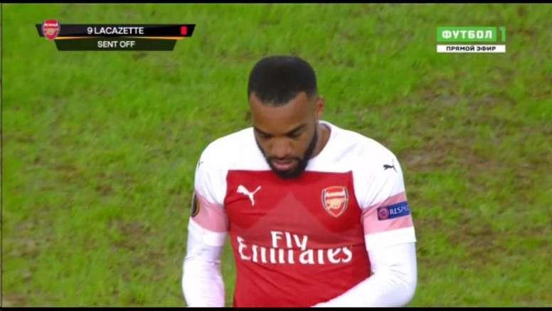 Lacazette dejó al Arsenal con uno menos en los minutos finales. BeSoccer