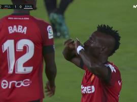 Primeira chegada, primeiro gol. Captura/MovistarLaLiga
