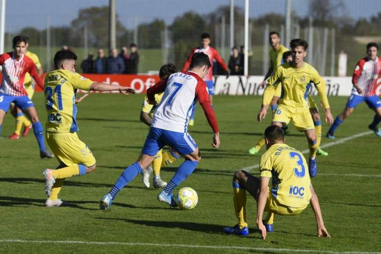 El Sporting B batió sin problemas a Las Palmas Atlético. Twitter/UDLP_Oficial