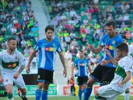 Lance del partido entre el Elche y el Hércules de la Jornada 37 de la 17-18. Twitter/CFHércules