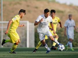 Lance del partido entre el Real Madrid y el Villarreal en la Copa del Rey juvenil. RealMadrid