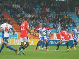 Lance del partido entre la Ponferradina y el Nàstic de Tarragona. Twitter
