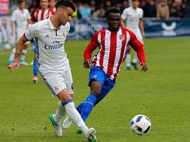 Lance del partido entre Real Madrid y Atlético de la Copa de Campeones juvenil. RFEF
