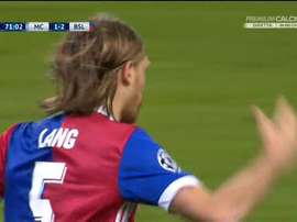 Lang scored Basel's second goal at the Ethiad. Screenshot/Twitter/PremioCalcio