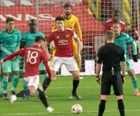 Bruno Fernandes sealed United win with free-kick. Screenshot/EmiratesFACup