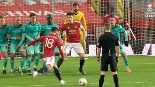 Bruno Fernandes sealed United win with free-kick. Screenshot/EmiratesFACup