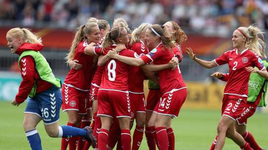 Denmark's women celebrate victory in this summers Euros. UEFAWomensEURO