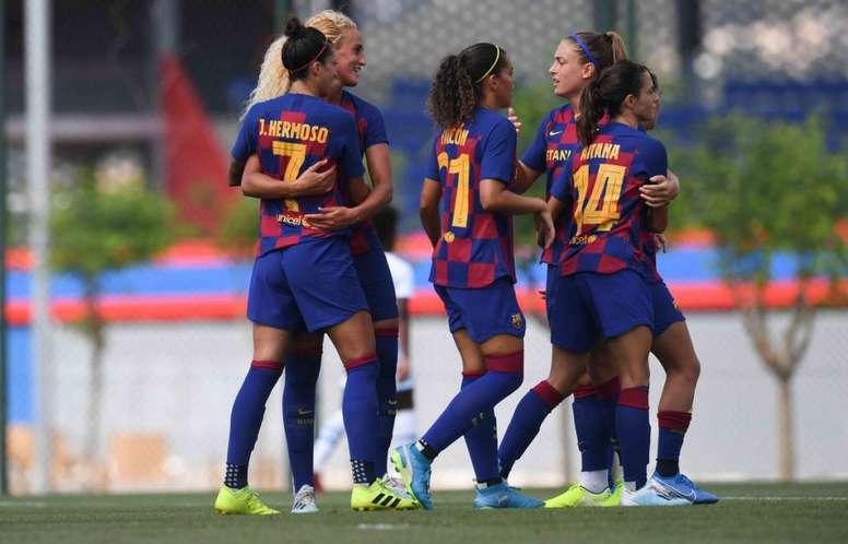 La AFE quiere que el fútbol femenino esté en las quinielas. Twitter/FCBarcelonaFemení