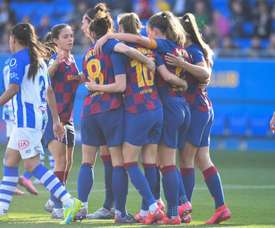 Con dobletes de Jenni Hermoso y Oshoala. Twitter/FCBarcelonaFemení