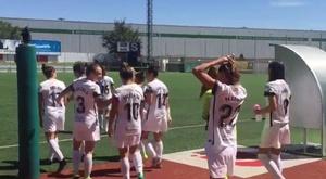 La UD Sanse y el Madrid CFF toman partido contra la violencia de género. MadridCFF