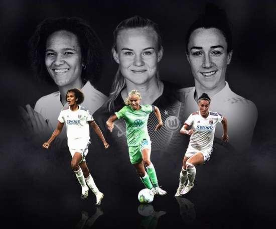 Bronze, Harder et Renard, nominées pour le titre de joueuse de l'année UEFA. UEFA