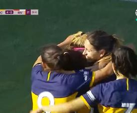 Las jugadores de Boca Juniors celebran el cuarto gol de la goleada a River. Captura/TNTSports