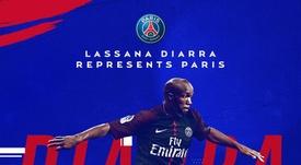 Lass Diarra é reforço do PSG. Twitter/PSG
