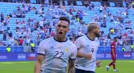 Lautaro marque contre le Qatar. EFE