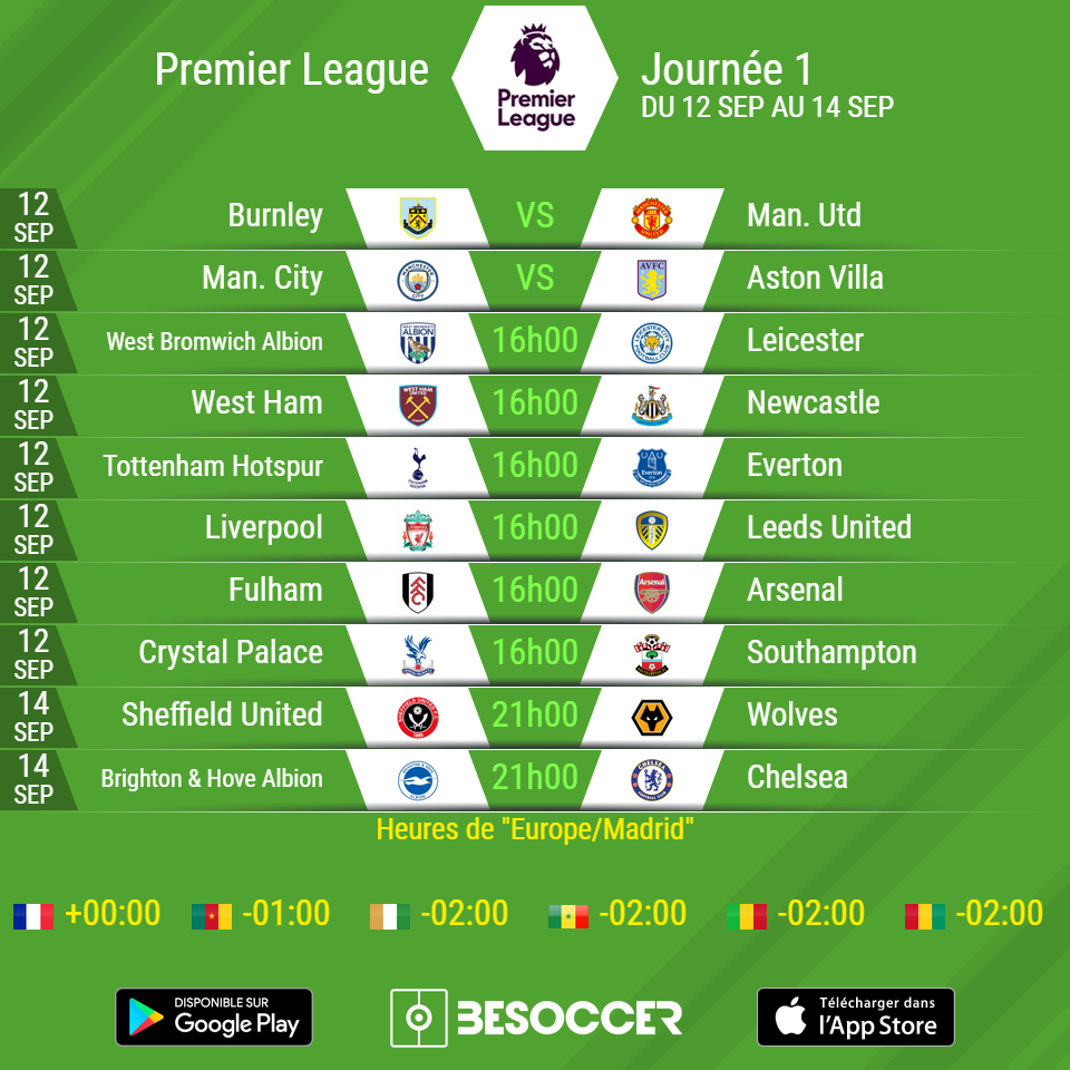 Le calendrier officiel de la 1ère journée de Premier League   BeSoccer