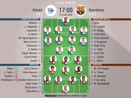 Le formazioni di Alaves-Barcellona,. BeSoccer