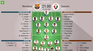 Le formazioni di Barcellona-Osasuna. BeSoccer