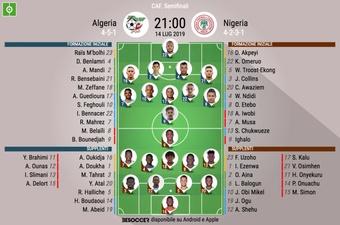 Le formazioni iniziali di Algeria-Nigeria. BeSoccer
