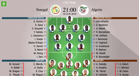 Le formazioni iniziali di Senegal-Algeria, finale Coppa d'Africa 2019. BeSoccer