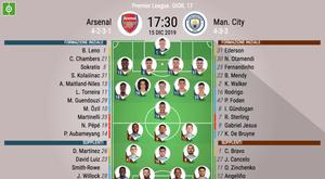 Le formazioni ufficiali di Arsenal-Manchester City. BeSoccer
