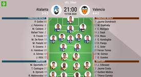 Le formazioni ufficiali di Atalanta-Valencia. BeSoccer