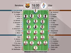 Le formazioni ufficiali di Barcellona-Eibar. BeSoccer