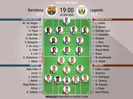 Le formazioni ufficiali di Barcellona-Leganes. BeSoccer