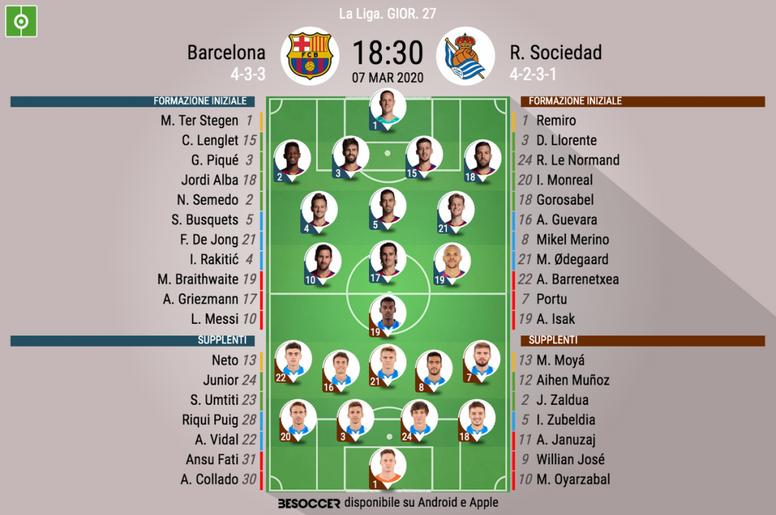 Le formazioni ufficiali di Barcellona-Real Sociedad. BeSoccer