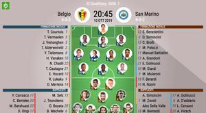 Le formazioni ufficiali di Belgio-San Marino. BeSoccer