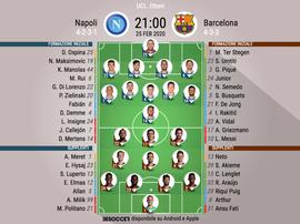 Le formazioni ufficiali di Napoli-Barcellona. BeSoccer