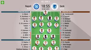Le formazioni ufficiali di Napoli-Genk. BeSoccer