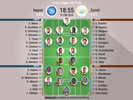 Le formazioni ufficiali di Napoli-Zurigo. BeSoccer