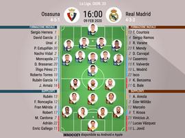Le formazioni ufficiali di Osasuna-Real Madrid. BeSoccer