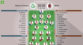 Le formazioni ufficiali di Shamrock Rovers-Milan. BeSoccer