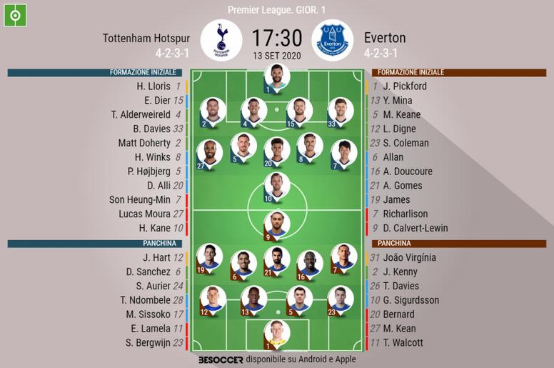 Le formazioni ufficiali di Tottenham-Everton. BeSoccer