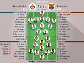 Le formazioni ufficiali di Valladolid-Barcellona. BeSoccer