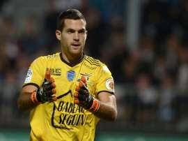 Le gardien de but Denis Petric avec Troyes contre Angers, le 19 septembre au stade Jean-Bouin